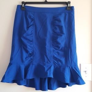 Royal Blue Lined Ruched and Flounced Skirt